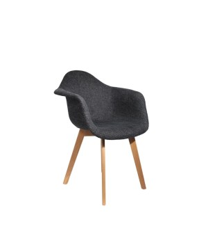 Fauteuil coque grosse maille - gris anthracite