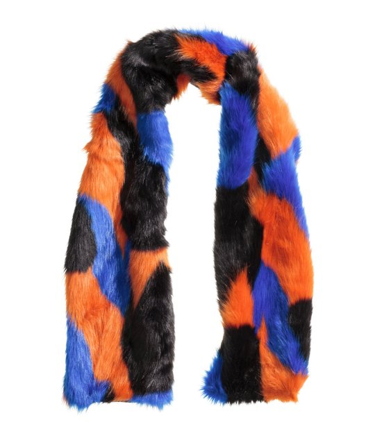 H&M coloured faux fur scarf, £19.99