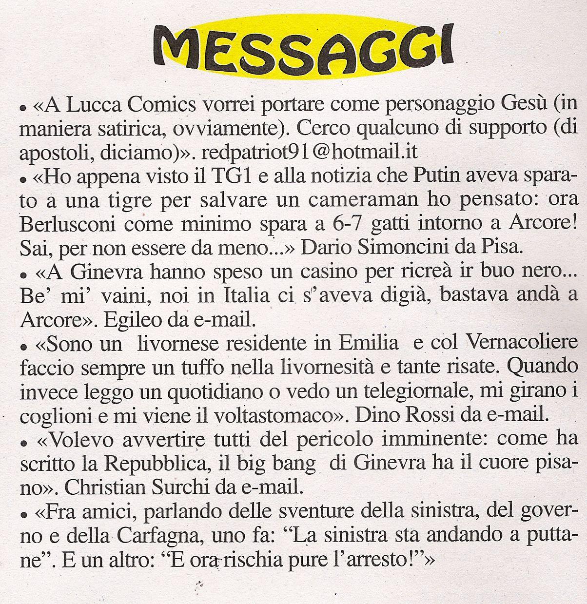 Messaggi - Vernacoliere Ottobre 2008