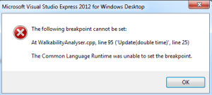 The Common Language Runtime was unable to set the break point error