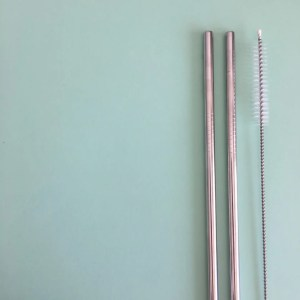 Pack de pajitas reutilizables en acero inoxidable 316 (forma recta) con cepillo