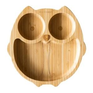Plato de bambú orgánico en forma de búho con ventosa ECO RASCALS