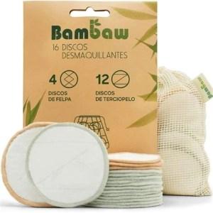 16 discos desmaquillantes reutilizables + bolsita BAMBAW
