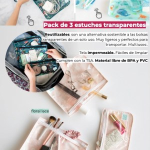 Pack de 3 estuches transparentes reutilizables BUMKINS