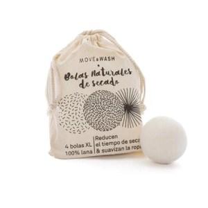 Bolas naturales de secado MOVE & WASH- en bolsa de algodón reciclado