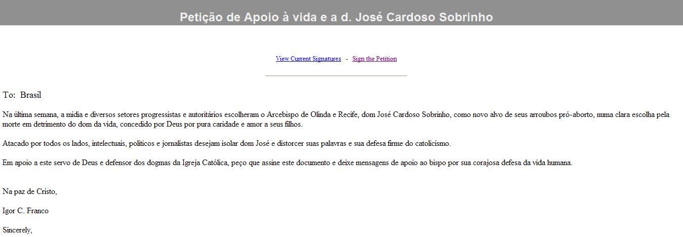 Petição em favor de Dom José Cardoso Sobrinho
