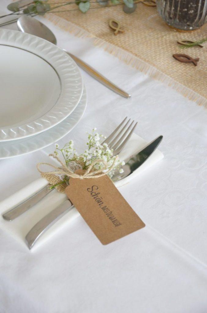 Tischdekoration zur Konfirmation