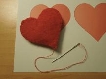 Filz Herz genäht