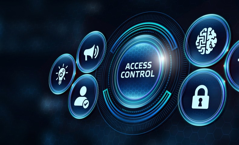 Business, Technology, Internet and network concept. Business man working on the tablet of the future, select on the virtual display: Access control