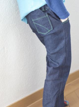 Jeans nähen seitlich Frau Fadegrad
