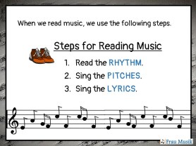 Steps for Reading Music. 1. Read the Rhythm. 2. Sing the Pitches. 3. Sing the Lyrics.