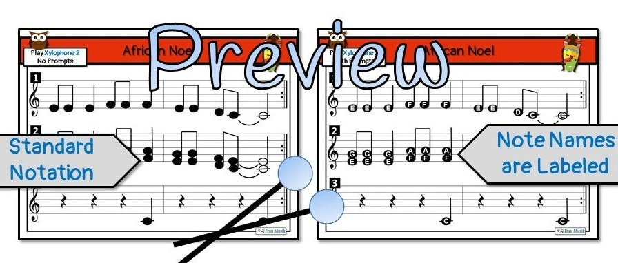 Winter Holiday Song with Differentiated Orff Arrangement for Grades K-5 | African Noel Preview