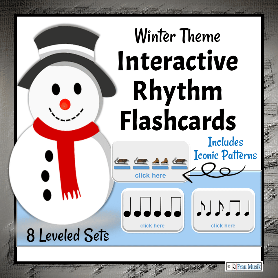 Winter Theme Interactive DIGITAL Rhythm Pattern Flashcards for the Elementary Music Classroom