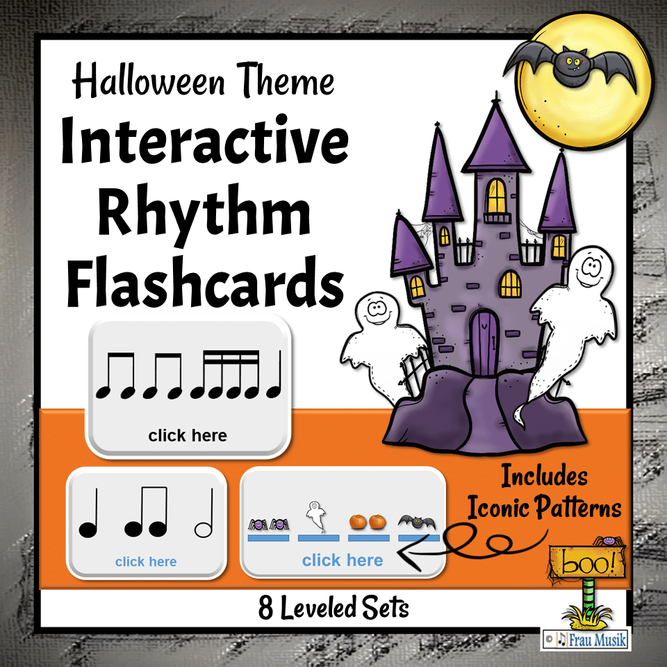 Halloween Music Activities - Interactive Rhythm Pattern Flashcards for the Elementary Music Classroom