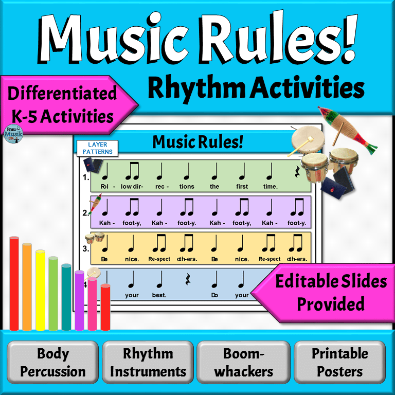 Music Orff Rhythm Rules | Back to School Elementary Music Activities