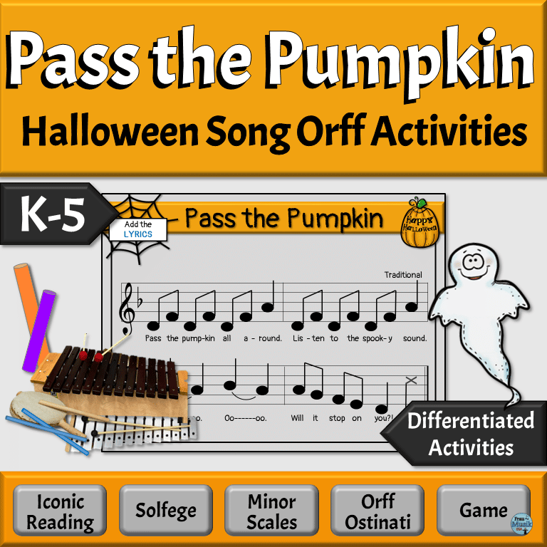 Pass the Pumpkin Halloween Song with Orff Activities