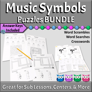Music Symbols Worksheets & Puzzles Bundle for Music Classroom