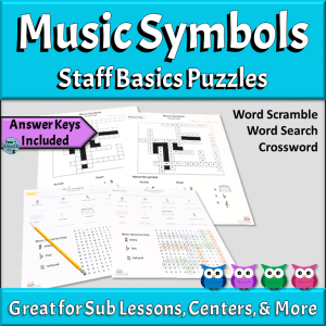 Music Symbols Puzzles | Staff, Clefs, and More