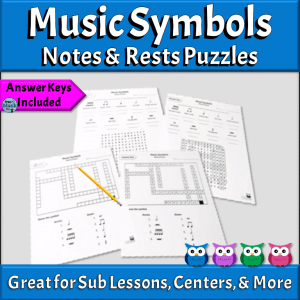 Music Symbols Puzzles, Notes & Rests