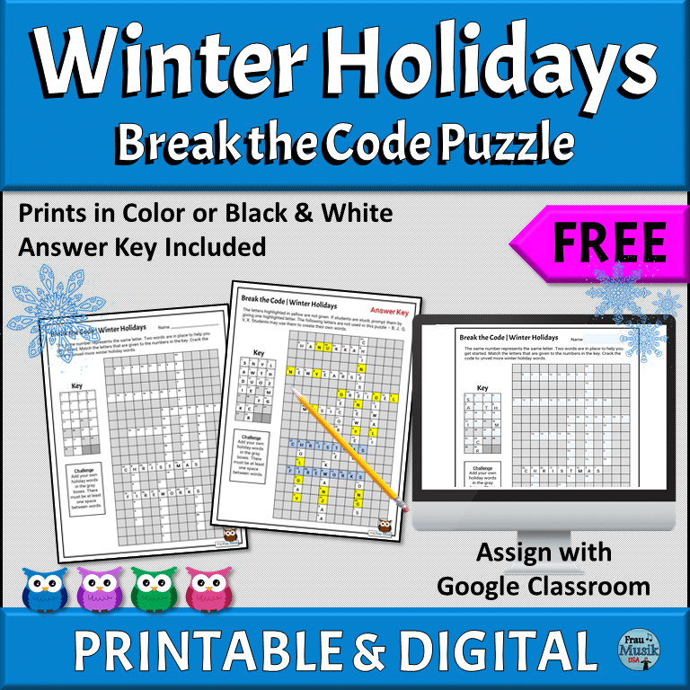 FREE PRINTABLE & ONLINE DIGITAL Diverse Winter Holiday Puzzles | Upper Elementary Grades