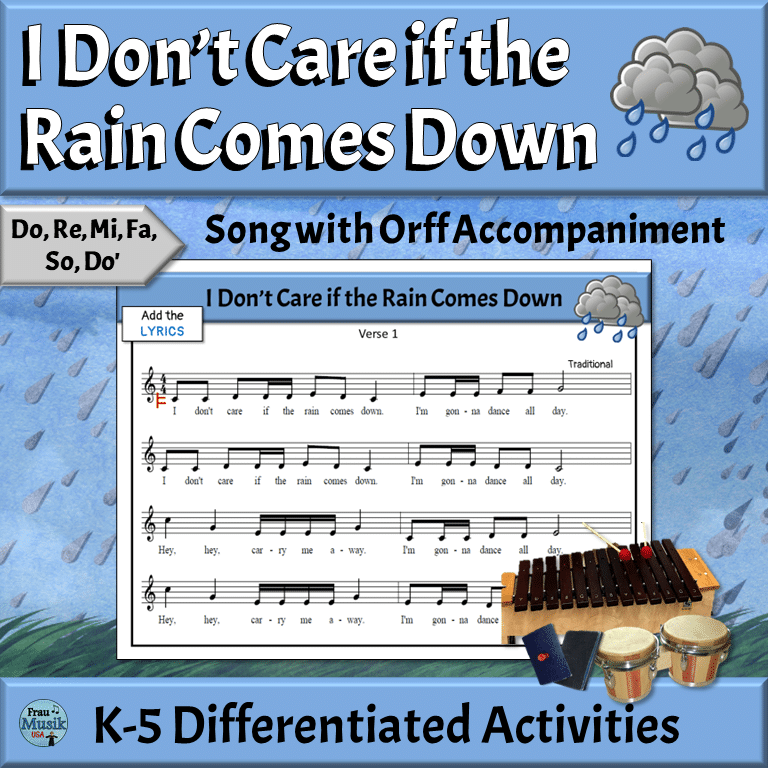 Music Reading Song with Differentiated Orff Activities | Elementary Music - If the Rain Comes Down