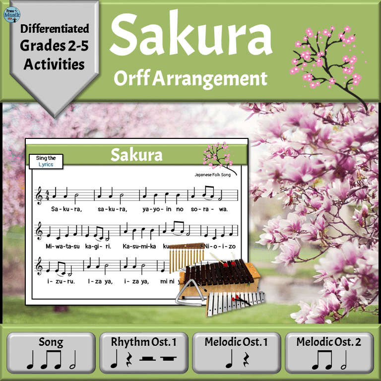 Spring Music Reading Lesson with Orff Activities for the Elementary Music Classroom - Sakura