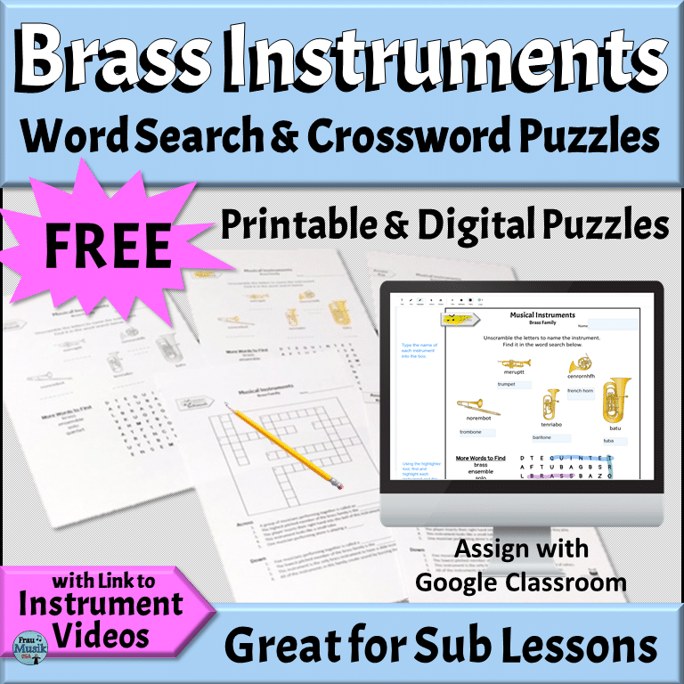 FREE Instruments of the Orchestra Worksheet - Brass Family | Puzzles for Elementary Music Classroom