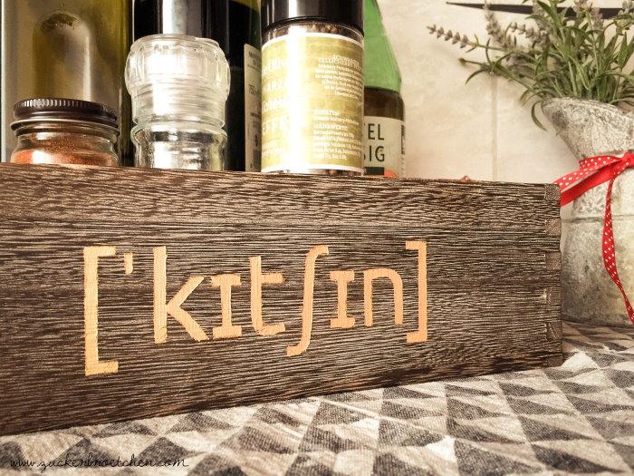 Eine schlichte Holzbox für die Küche aufpeppen