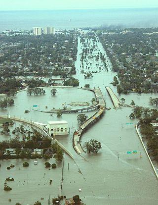 Una vista de la zona devastada por el huracán Katrina