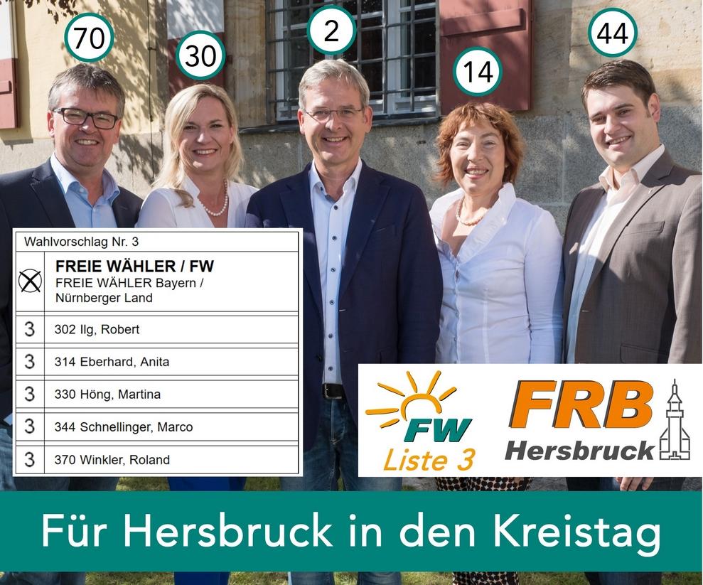 Für Hersbruck in den Kreistag - 3 Stimmen an Robert Ilg, Anita Eberhard, Martina Höng, Marco Schnellinger und Roland Winkler