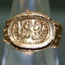 Late Roman gold finger ring with relief bezel depicting facing male and female busts. Hoop is decorated with beaded wire and gold globules. Purchased for the Museum by the Friends of Rutland County Museum with the help of a 50% grant from the Museums and Galleries Purchase Grant Fund.