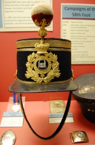 A 58th Rutlandshire Regiment Major's shako, 1869-78 pattern, in a fitted tin.