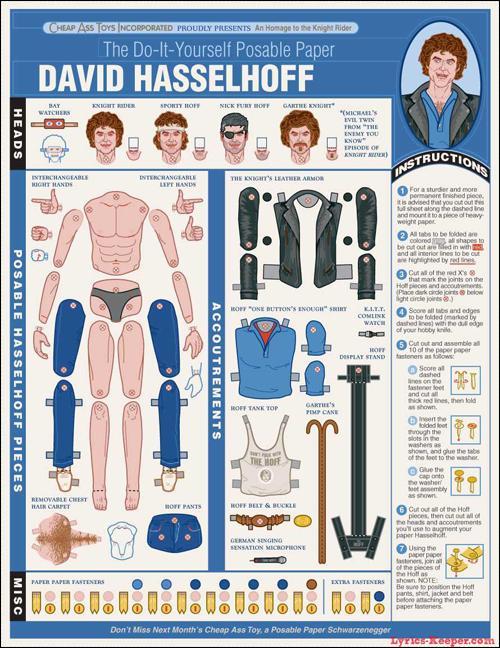 David Hasselhoff paper doll