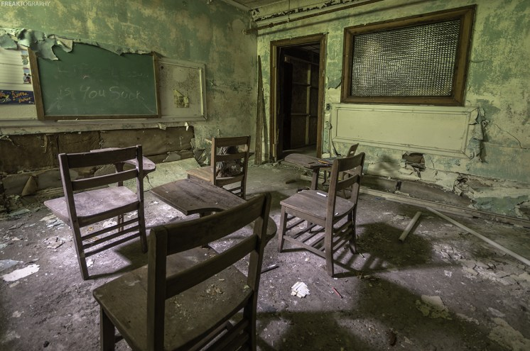 Abandoned church classroom
