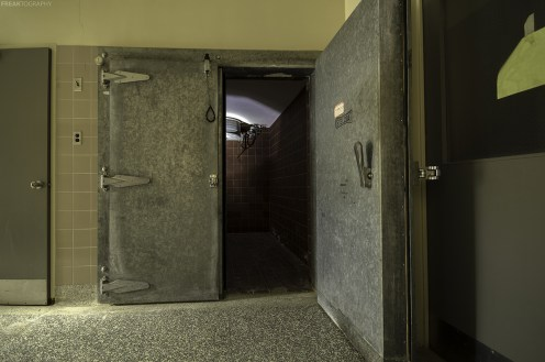 Urban Exploration photography of an abandoned morgue.