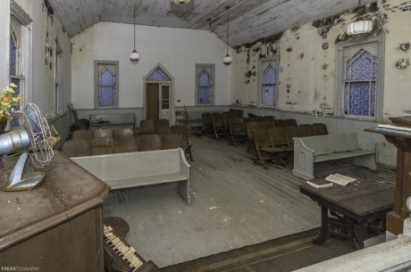An abandoned church in Ontario Canada, left to the elements, is slowly rotting away