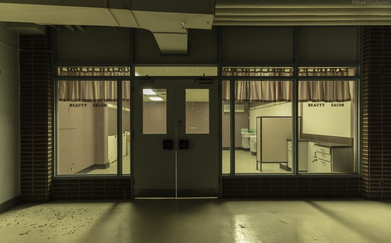 A Beauty Salon in the lower levels of a vacant psychiatric hospital. The whole area was set up like a little town.