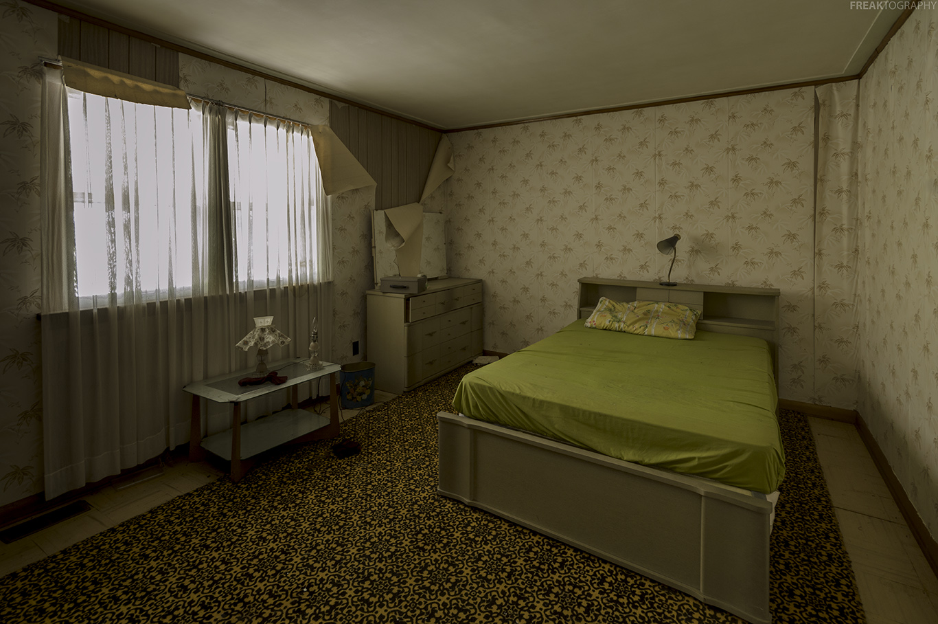 An in tact bedroom inside an abandoned house in Ontario.