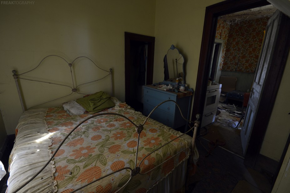 An in tact bedroom of a forgotten abandoned house