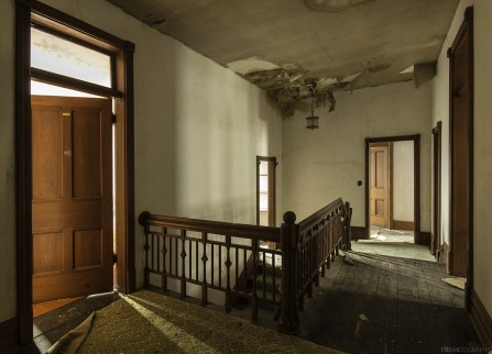 Shadows and doors inside a large Ontario Abandoned house.