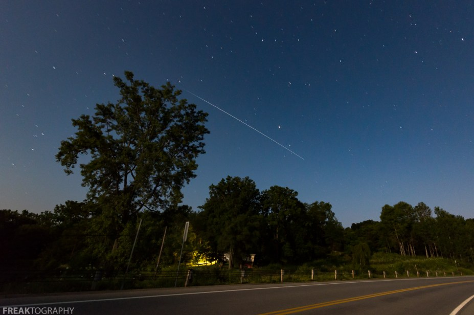 ISS, Rushford Lake, international space station, landscape, long exposure, new york state, night, night photography, road, rushford lake new york, sky, space, space station, stars, trees