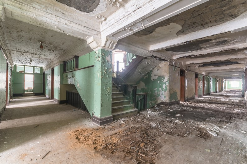 Photography, URBAN EXPLORATION, abandoned, abandoned mens residence, abandoned photography, abandoned places, abandoned university mens residence, corridor, creepy, decay, derelict, freaktography, hallway, haunted, haunted places, stairs, urban exploration photography, urban explorer, urban exploring