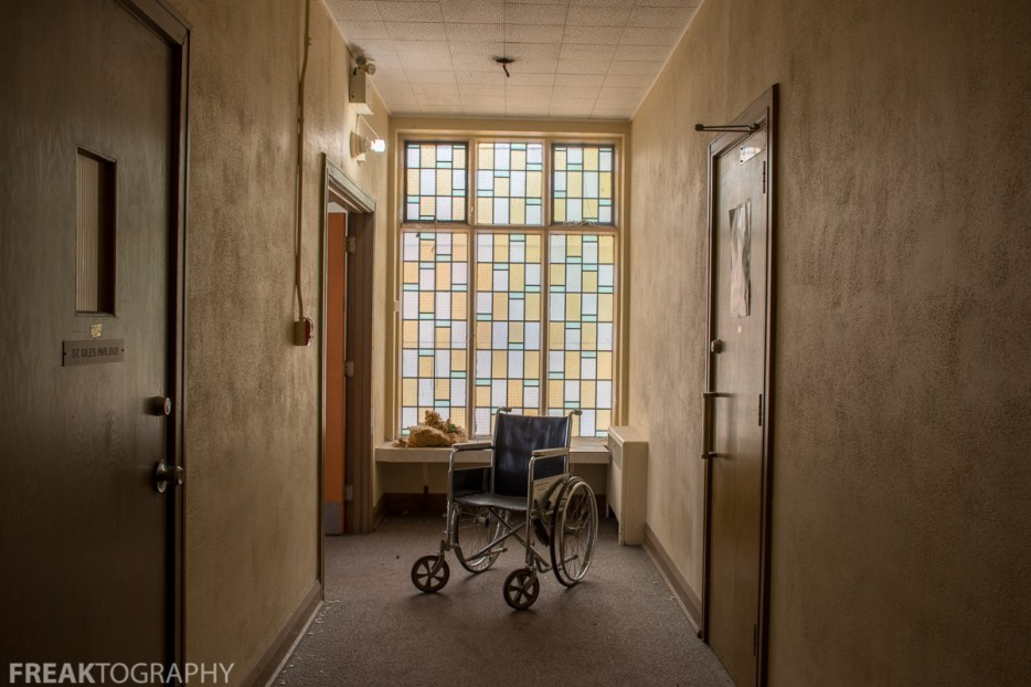 Wheelchair in St Giles Abandoned Ontario Church By Freaktography Urban exploration photographer