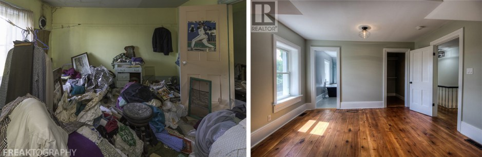 Before and After Restoration Photos of a former abandoned time capsule house