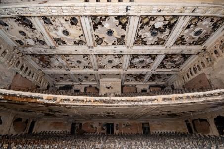 abandoned detroit cooley high school auditorium ceiling