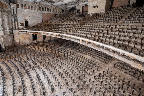 abandoned detroit cooley high school seat rows