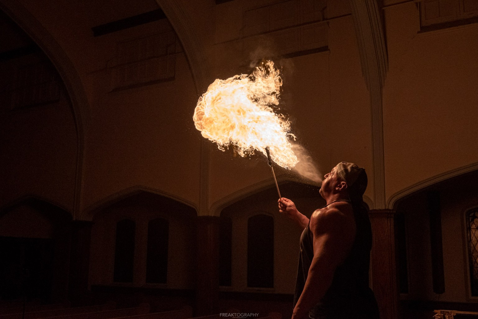 abandoned church fire breathing photography