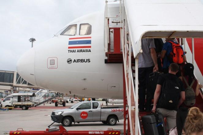 Boarding Thai Air Asia in Phuket.