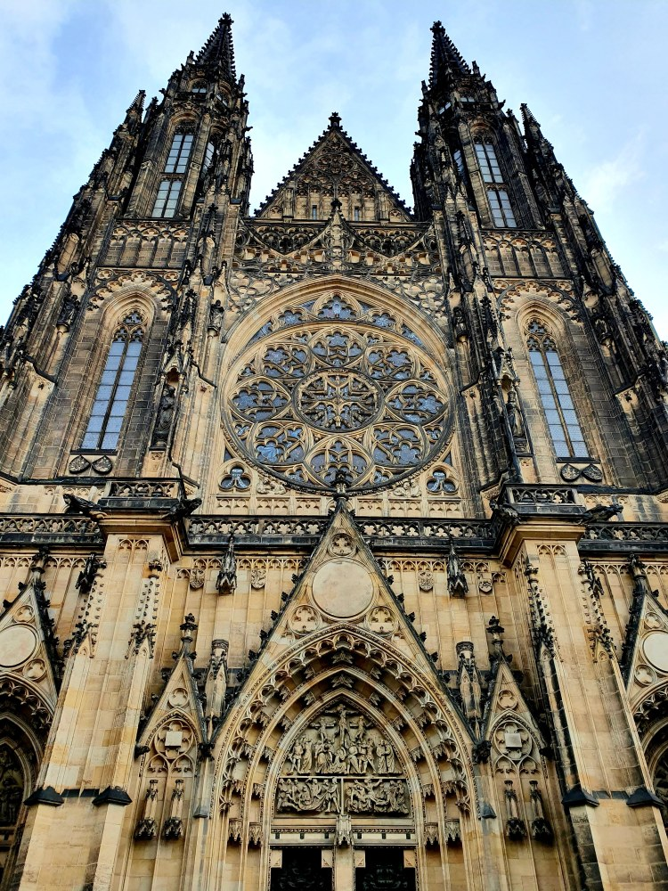 Exterior view of St. Vitus Cathedral in Prague, Czech Republic.