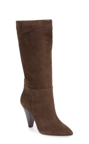 Dark brown suede boots